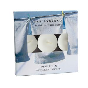 Fresh Linen TEALIGHTS Made In England Scented Candles Wax Lyrical (Pack of 9)